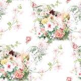 Aquarellillustration des Blattes und der Blumen, nahtloses Muster Stockfoto