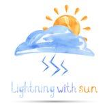 Aquarellillustration des Blitzes mit der Sonne vektor abbildung