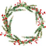 Aquarellillustration des Kranzes der frohen Weihnachten, der roten Beeren und der grünen Baumaste stock abbildung