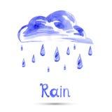 Aquarellillustration des Regens und der Wolke stock abbildung