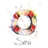 Aquarellillustration des Rettungsrings auf weißem Hintergrund stock abbildung