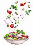Aquarellillustration des Salats Stockfotos