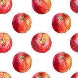 Aquarellillustration des Stoffsacks mit den grünen, gelben und roten Äpfeln Stockfotografie