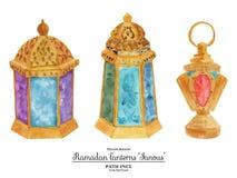 Aquarellillustration drei Ramadan-Lampen Stockbild