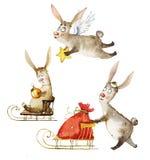 Aquarellillustration eine Firma von magischen Kaninchen lizenzfreie abbildung