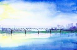 Aquarellillustration einer Eisenbahnbrücke über einem Fluss auf einem Hintergrund von Wolkenkratzern Im Hintergrund Kamine und stock abbildung