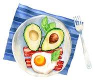 Aquarellillustration einer Frühstücksmahlzeit Stockbild