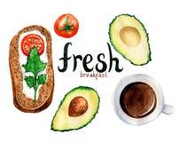 Aquarellillustration einer Frühstücksmahlzeit Lizenzfreies Stockfoto