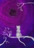 Aquarellillustration einer Katze auf einem Baum Lizenzfreies Stockfoto