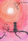 Aquarellillustration einer Katze auf einem Baum Lizenzfreie Stockbilder