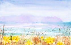 Aquarellillustration einer Landschaft mit trockenem Gras und gelben Blumen im Vordergrund, des klaren Feldes und des Waldes in stock abbildung