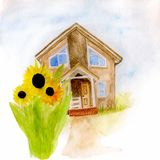 Aquarellillustration eines Hauses mit Sonnenblumen stock abbildung