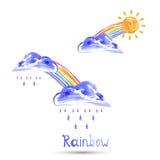 Aquarellillustration eines Regenbogens, der Sonne und des Regens stock abbildung
