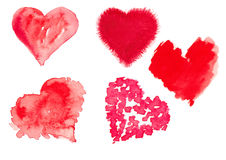 Aquarellillustration eines roten Herzens Stockfotografie