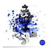 Aquarellillustration eines Samowars, des Kuchens und der Süßigkeit vektor abbildung