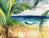 Aquarellillustration eines tropischen Strandes, der Wellen und der Palmen lizenzfreie abbildung