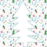 Aquarellillustration für Winterurlaubdekor mit Weihnachtsbäumen, Schneeflocken, Geschenken und Bällen lizenzfreie abbildung