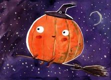 Aquarellillustration, Halloween-Kürbis auf schwarzem Hintergrund lizenzfreie abbildung