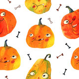 Aquarellillustration, Halloween-Muster Stockbild
