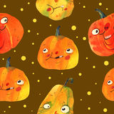 Aquarellillustration, Halloween-Muster auf Braun Stockfotos