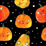 Aquarellillustration, Halloween-Muster auf Schwarzem Stockbilder