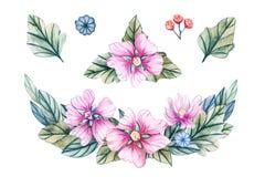 Aquarellillustration mit Kranz von wilden Blumen stock abbildung