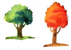 Aquarellillustration von Bäumen Stockbild