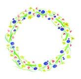 Aquarellillustration von blauen und rosa Blumen in einem Kreis Stockfotos