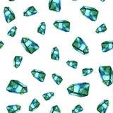 Aquarellillustration von Diamantkristallen - nahtloses Muster Druck für Gewebe, Gewebe, Tapete Handgemachte Malerei vektor abbildung