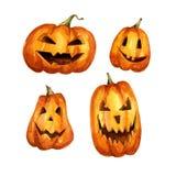 Aquarellillustration von furchtsamen Gesichtern Halloween-Jahreszeit von einem Kürbis Stockfotos