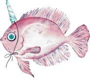 Aquarellillustration von rosa Fischen mit einem Horn auf dem Kopf lokalisiert auf weißem Hintergrund vektor abbildung