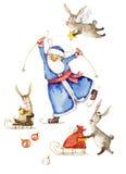 Aquarellillustration von Santa Claus und von Kaninchen, die Ski fahren und rodeln lizenzfreie abbildung