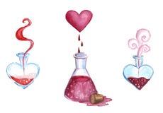 Aquarellillustrations-Liebestränke, rote Flüssigkeit in den Flaschen Stockfotos
