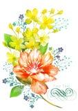 Aquarellillustrationsblume im einfachen Hintergrund Lizenzfreie Stockfotografie