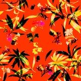 Aquarellillustrationsmalerei des Blattes und der Blumen, nahtloses Muster Vektor Abbildung