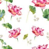 Aquarellillustrationsmalerei von Blättern und von nahtlosem Muster des Lotos Stock Abbildung