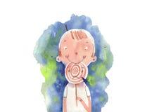 Aquarelljunge und Süßigkeit, Vektorillustration Stockbild
