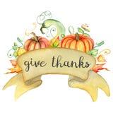 Aquarellkürbis und Herbstlaubkarte Erntezusammensetzung Glücklicher Danksagungs-Tag Hand gezeichnete Abbildung Lizenzfreies Stockbild