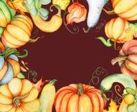 Aquarellkürbis und Herbstlaubkarte Erntezusammensetzung Glücklicher Danksagungs-Tag Hand gezeichnete Abbildung Stockfotos