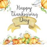 Aquarellkürbis und Herbstlaubkarte Erntezusammensetzung Glücklicher Danksagungs-Tag Hand gezeichnete Abbildung Lizenzfreie Stockfotografie