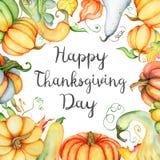 Aquarellkürbis und Herbstlaubkarte Erntezusammensetzung Glücklicher Danksagungs-Tag Hand gezeichnete Abbildung Stockbild