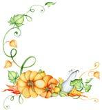 Aquarellkürbis und Herbstlaubkranz Erntezusammensetzung Glücklicher Danksagungs-Tag Hand gezeichnete Abbildung Lizenzfreies Stockfoto