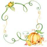 Aquarellkürbis und Herbstlaubkranz Erntezusammensetzung Glücklicher Danksagungs-Tag Hand gezeichnete Abbildung Stockfotografie