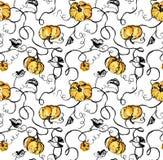 Aquarellkürbise und schwarze Reben auf weißem Hintergrund Nahtloses Muster des handgemalten Aquarells für Gewebe Lizenzfreies Stockfoto