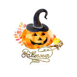 Aquarellkürbistag Halloween Lizenzfreies Stockfoto