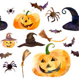 Aquarellkürbistag Halloween Stockfoto