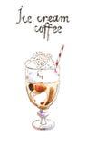Aquarellkaffee-Eiscreme, gefrorener Kaffee lizenzfreie abbildung