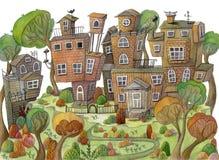 Aquarellkarikaturhäuser und -bäume auf Berg Kleines feenhaftes Dorf lizenzfreie abbildung