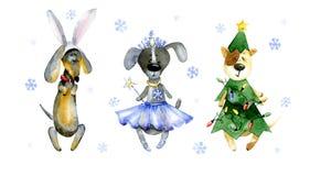 Aquarellkarikaturillustration Satz nette Karikaturhunde Stockfotos