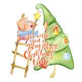 Aquarellkarte der frohen Weihnachten mit nettem lustigem Schwein, Kiefer und beschriften Zitat lizenzfreies stockbild